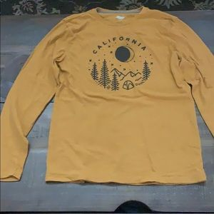 Mustard colored graphic long sleeve